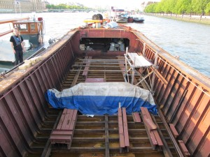 The empty hull of November, the Thames Lighter which will form the heart of The November Project