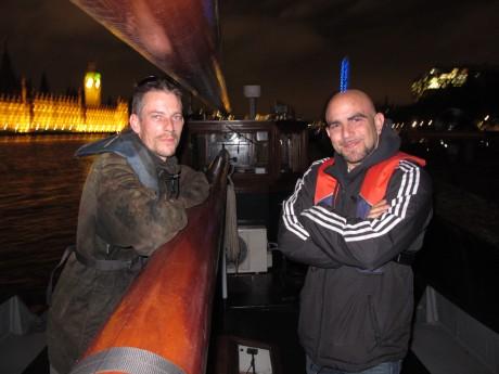 Jay and Dan Shell on Jay's 1910 Mossel Kotter, YE37, overlooking the Thames Lighter  November